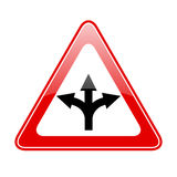 Three way fork road sign. Vector illustration Royalty Free Stock Images