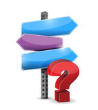 Three way question mark road sign illustration Stock Photo