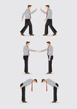 Three Ways of Greeting Gestures Vector Illustration. Three sets of vector illustration showing the different social gestures of greeting for different cultures Royalty Free Stock Photos