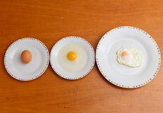 Three ways to view an egg Stock Photos