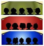 Three web banner. Three colored web banner-People stock illustration