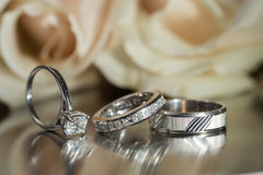 Three wedding rings Royalty Free Stock Images