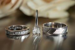 Three wedding rings Royalty Free Stock Photos