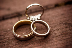 Three wedding rings Royalty Free Stock Image