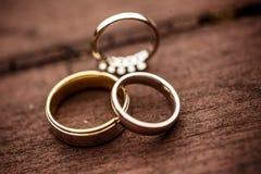 Three wedding rings Royalty Free Stock Image