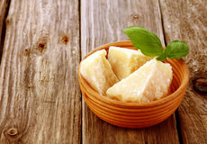Three wedges of gourmet parmesan cheese Royalty Free Stock Images