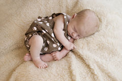 Three Week Old Baby Girl Sleeping Stock Images