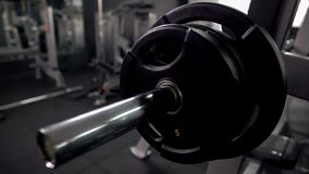 Three weight plates on barbell bar, high quality equipment, gym maintenance. Stock photo royalty free stock image