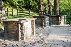 Three wells  in village Ukraine.  Royalty Free Stock Photos