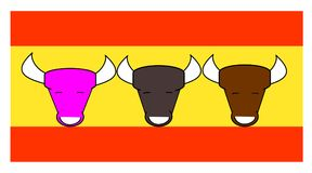 Three were Helena`s daughters and none was good. Three smiling and happy bulls of different colors on the Spanish flag Stock Photography