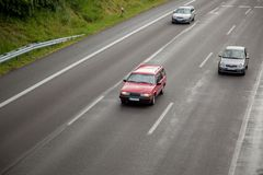 Three wet highway lines Royalty Free Stock Image