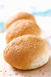Three wheat buns with sesame Royalty Free Stock Images