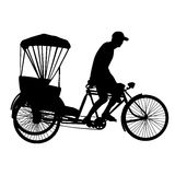 Three wheel bicycle taxi  silhouette vector Royalty Free Stock Photo