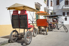 Three wheeled bicycles in Old Havana Royalty Free Stock Photo