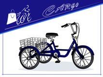 Three-wheeled cargo bike. Cart for transportation of goods. Card. Vector. Three-wheeled cargo bike. Cart for transportation of goods. Cyclist with purchases Royalty Free Stock Image