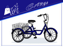 Three-wheeled ladingsfiets Kar voor vervoer van goederen kaart Vector Royalty-vrije Stock Afbeelding