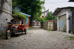 Three-wheeled motorcycle in tranquil aged town,Chengdu,China Stock Image