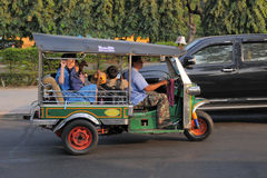 Three Wheeled Tuk Tuk Taxi in Bangkok Royalty Free Stock Image