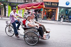 Three-wheeler taxi. To the city of Vietnam Stock Image