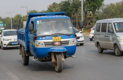 Three wheeler truck from WAW on streets of Xian China royalty free stock photo