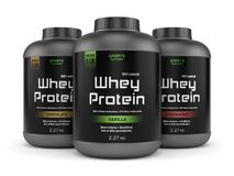 Three whey protein jars isolated on white. Sports nutrition, bodybuilding supplements: three jars of vanilla, chocolate and strawberry flavored whey protein royalty free illustration