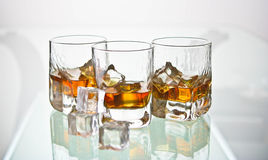 Three whiskey glasses Royalty Free Stock Image