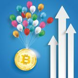 Three White Arrows Bitcoin Balloons Blue Background. White arrows with balloons and golden bitcoin on the blue background Stock Photo