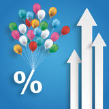 Three White Arrows Percent Balloons Blue Background Royalty Free Stock Images