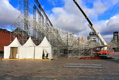 Three white awnings. White tents  on the camp of the scenery construction  on the Red Square in Moscow in preparation for the festival Royalty Free Stock Image