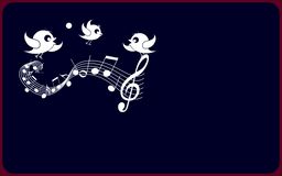 New year illustration design. Three white birds-shaped sit on white musical solfage and sing.The backround texture is indigo and has red outline royalty free illustration