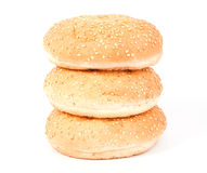 Three white bread roll with sesame Stock Photos