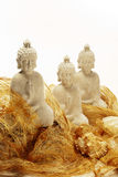 Three white budha statues Royalty Free Stock Photography