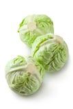 Three white cabbages. On white backround Royalty Free Stock Photo