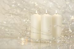 Three White Candles Royalty Free Stock Photo
