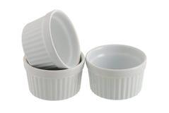 Three White Ceramic Individual Baking Pans Stock Photos