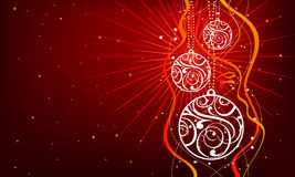 Three white christmas decorations. On red background vector illustration