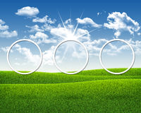 Three white circles on nature landscape background Royalty Free Stock Photography