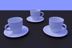 Three white coffee cups with saucer on a dark reflective surface. 3D rendering of white coffee cups with saucer on a dark reflective surface Stock Photos