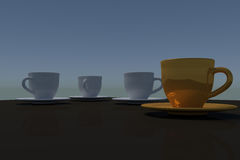 Three white coffee cups and a single golden coffee cup. 3D rendering of three white coffee cups and a single golden coffee cup - with saucer - on a table with a Royalty Free Stock Image