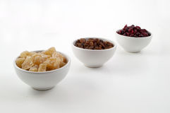 Three white condiment bowls Stock Photo