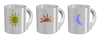 Morning day night cups Royalty Free Stock Photos