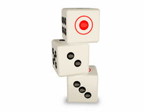 Three white dice Stock Images