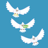 Three white doves Royalty Free Stock Images