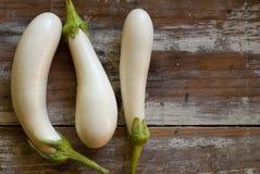 Three White Eggplants Stock Photos