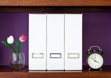 Three white files on a wooden shelf Royalty Free Stock Photos