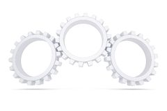 Three white gears Stock Photo