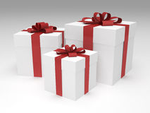 Three white gift boxes. With red ribbon and bow royalty free illustration