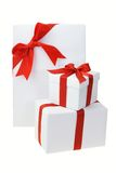 Three white gift boxes Royalty Free Stock Photo