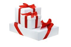 Three white gift boxes Royalty Free Stock Image