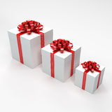 Three White Gift Boxes Stock Photography